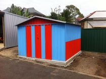 Storage sheds from recycled materials